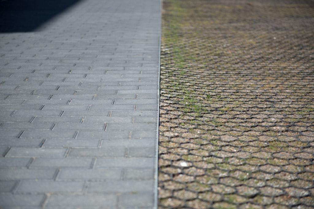 Rasengitter neben einem gepflasterten Weg